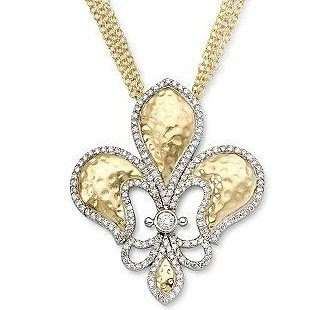 Diamond Fleur-De-Lis Necklace In 14kt Two-Tone