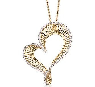 Diamond Heart Necklace In 14kt Yellow Gold