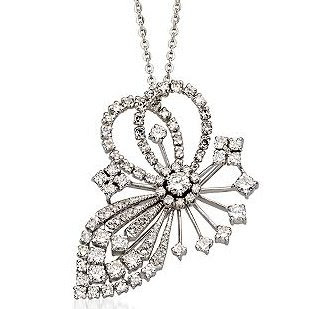 Diamond Brooch/Pendant With Chain In Platinum