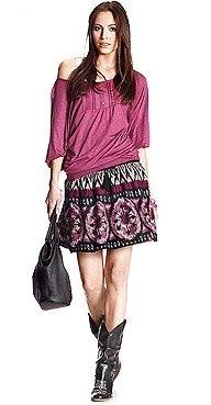 rayon print skirt