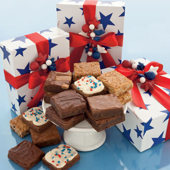 Star spangled gift boxes - assorted brownies