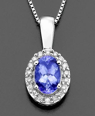 White Gold Pendant Tanzanite and Diamond Accent