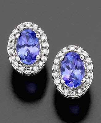 White Gold Earrings Tanzanite and Diamond