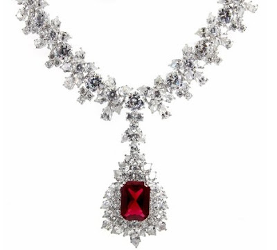 Night at the Oscars CZ Ruby Necklace