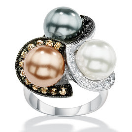Sterling Silver DiamonUltra Cubic Zirconia and Simulated Pearl Ring