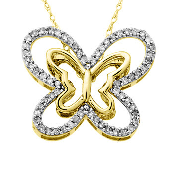 Diamond Twin Butterfly Pendant in Yellow Gold