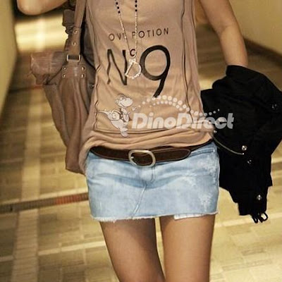 Fashion Women Jean Distressed Short Skirt