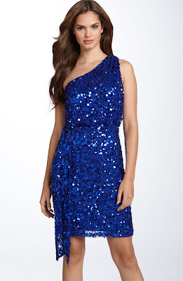 Aidan Mattox Sequin One Shoulder Dress