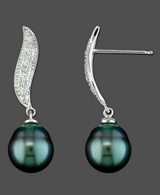 White Gold Earrings, Diamond Accent and Tahitian Pearl