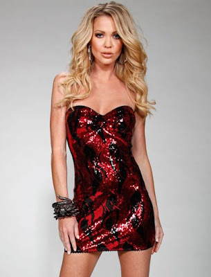 Sequin Flame Bandeau Mini Dress