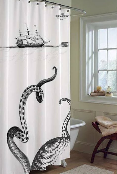Super punch kraken rum shower curtain and book for Weird shower curtains