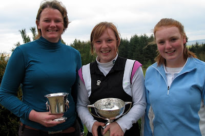 Sara McCorkell - Peggy Clark Winner, Megan Briggs - County Champion and Eilidh Briggs -Runner Up - Click to enlarge