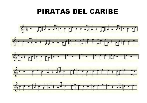 La siguiente partitura de Piratas del Caribe está en Re menor (flute