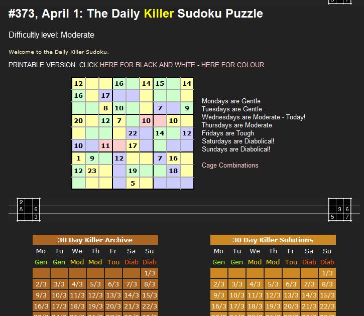 dail killer sudoku
