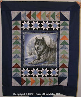 wolf panel quilt top