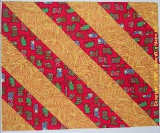 diagonal stripe Christmas quilt
