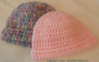 2 crocheted hats