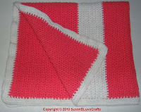 coral and white afghan