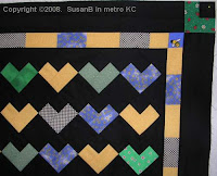Scrappy Hearts quilt top detail