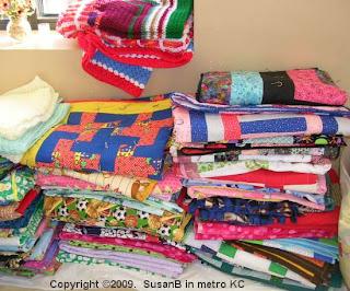 stacks of blankets