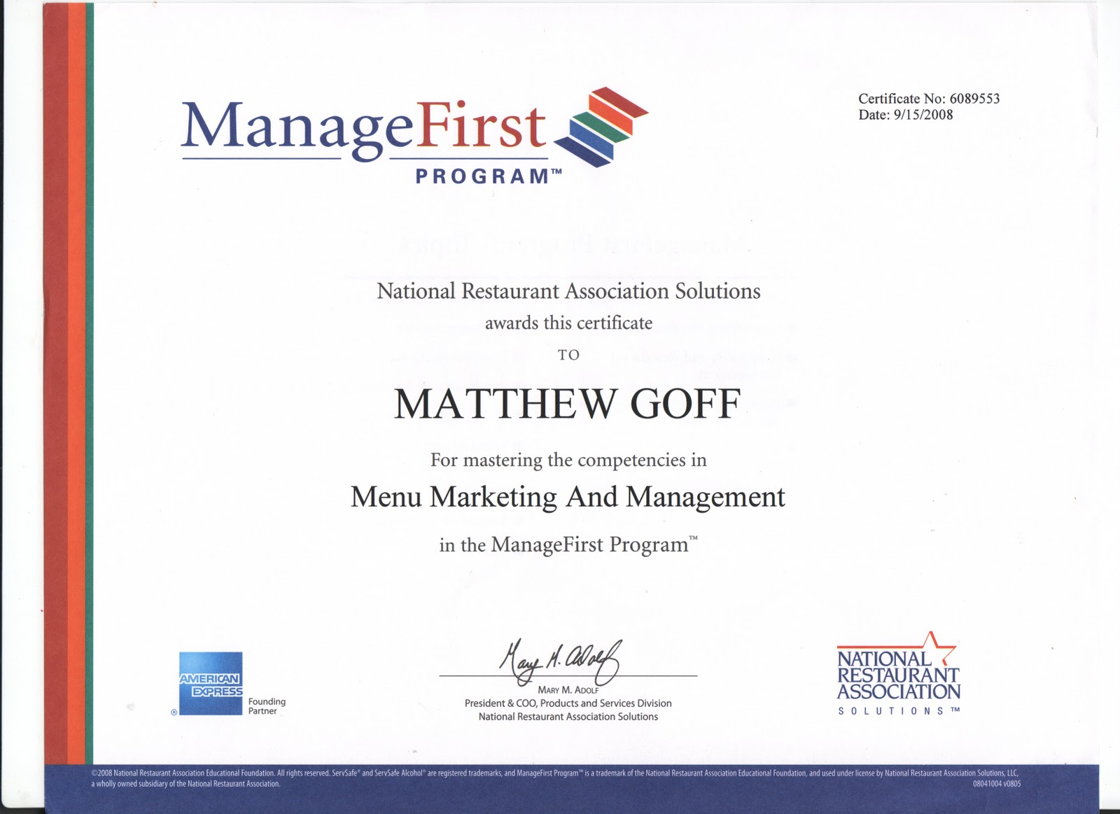 Matthew Goff\'s Portfolio: Certifications and Scholarships