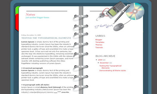 Notes Blogger Template