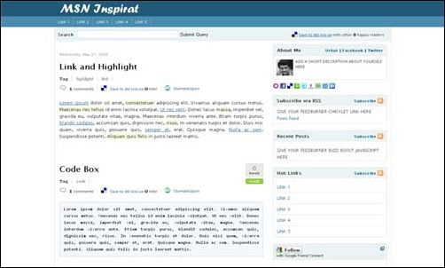 Msn Inspirat Blogger Template