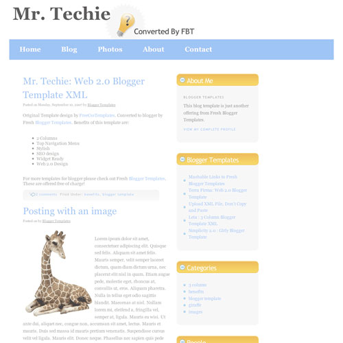 Mr. Techie Blogger Template