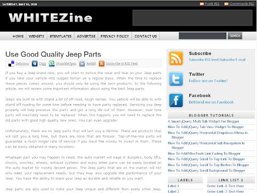 Whitezine Blogger Template