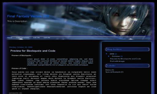 Final Fantasy Versus XIII Blogger Template