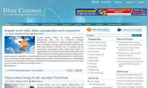Blue Cosmos Blogger Template