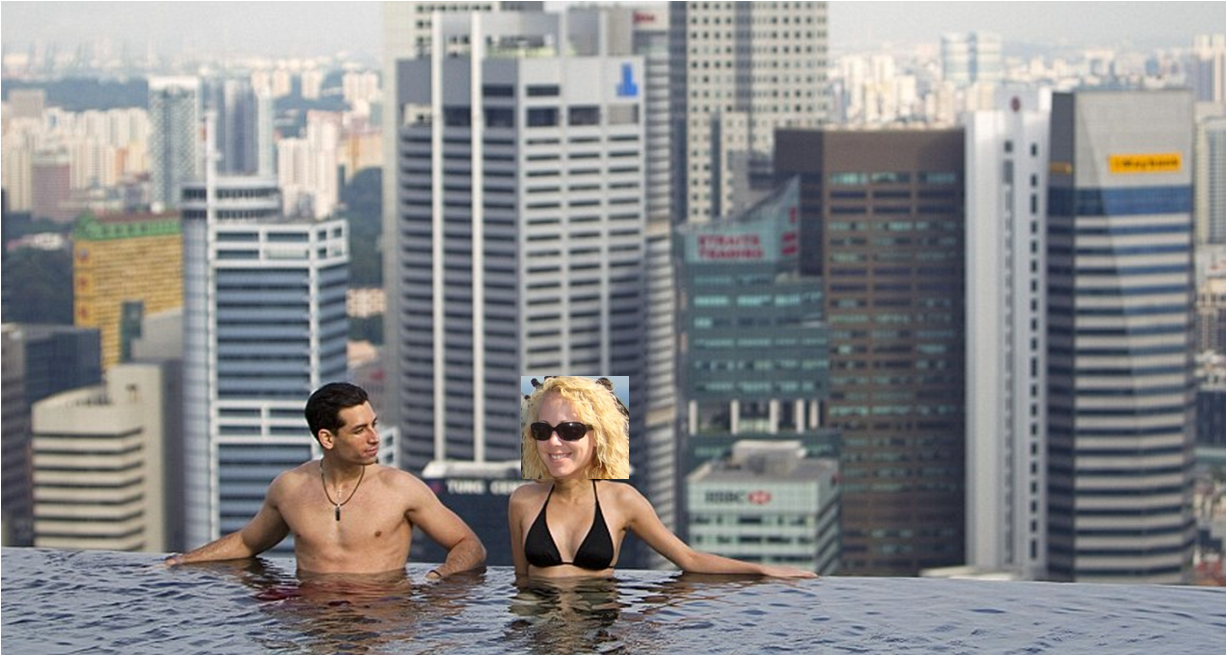 55 story high infinity pool some exotic drink in hand