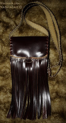 bolso de flecos cuero artesanal