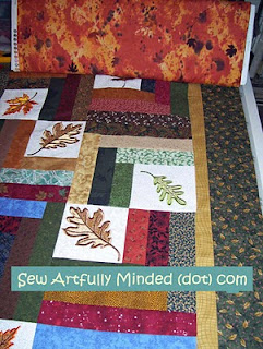 Perhaps this autumn looking fabric would make a good choice for the back of this quilt. Still thinking about this one.