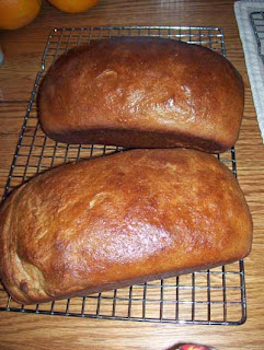 Two loaves of fresh homemade whole wheat bread.