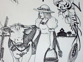 Closer view of the teacher/farmer in the Farmer Couple Wedding drawing.