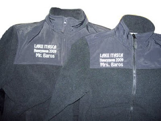 A honeymoon celebration commemoration in the form of his and hers jackets.