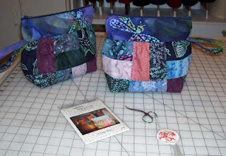 I sewed these two Clutter Bug bags today.
