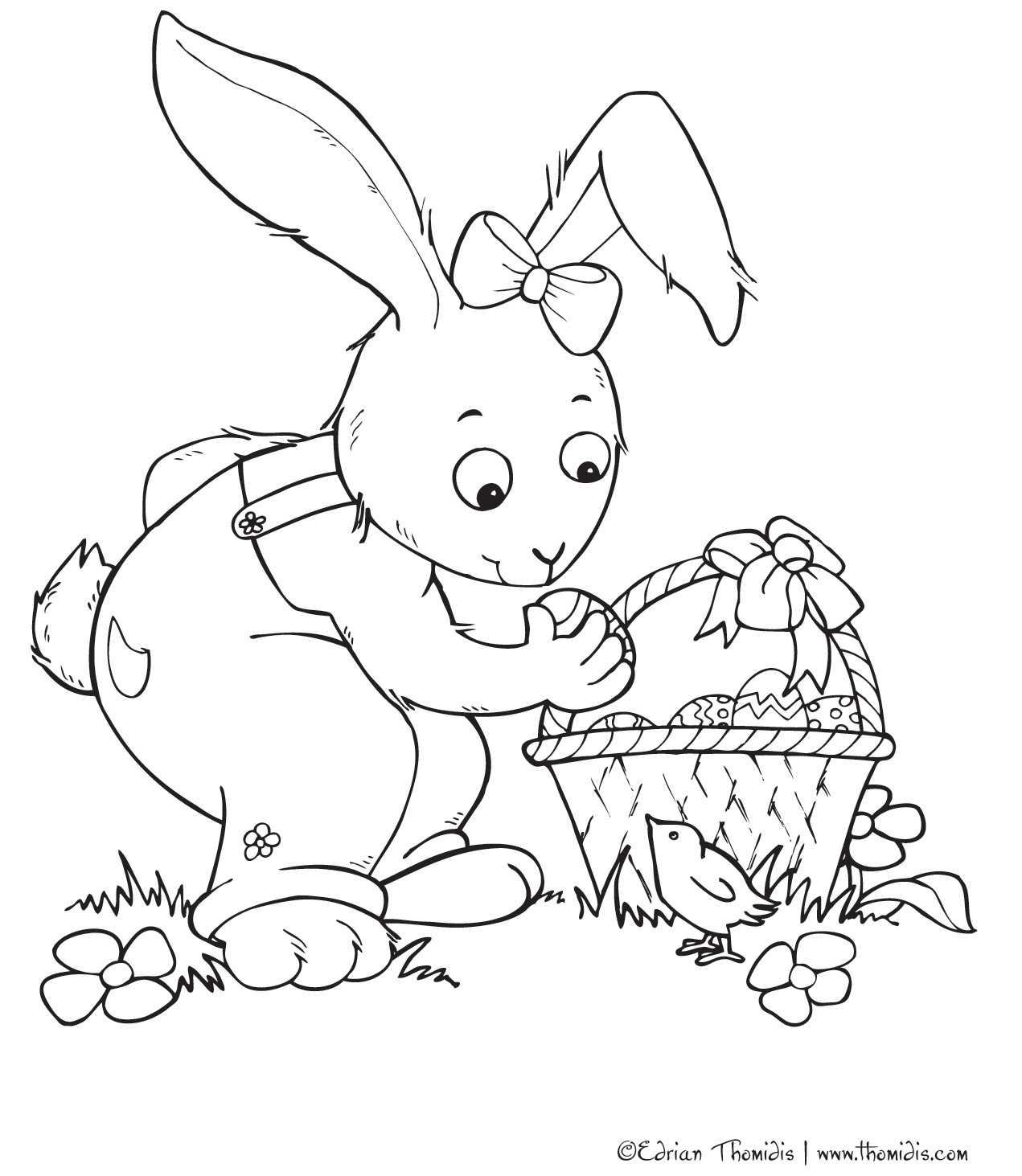 bunny color page - cute bunny coloring pages free printable pictures