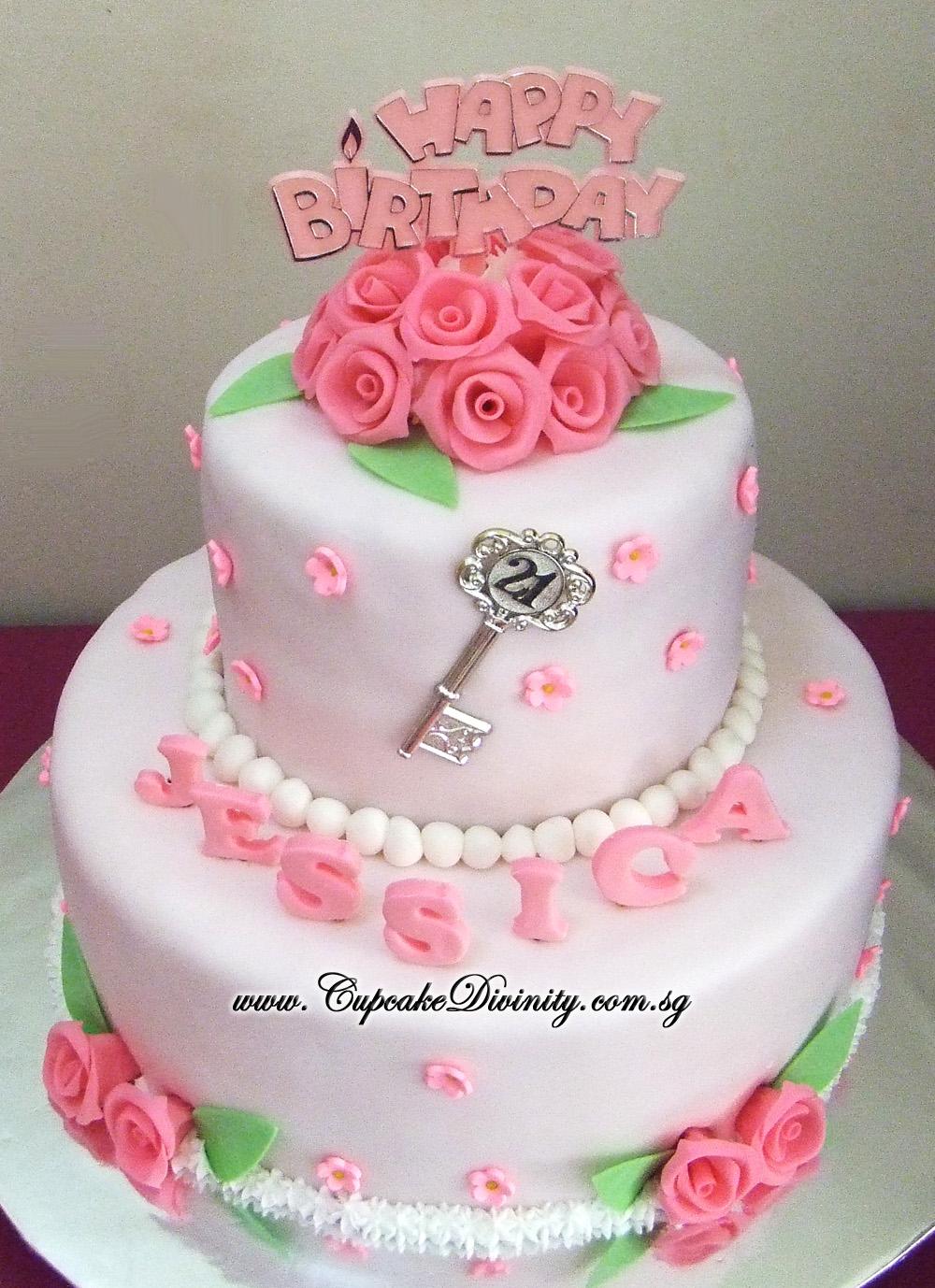 Cupcake Divinity Maxi 2 Tier Jessica 21st Birthday Fondant Cake