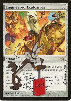 Engineered Explosives Magic the Gathering card art mtg altered art mtg altered art cards mtg card art magic artwork Wile E Coyote Looney Tunes cool magic cards Acme