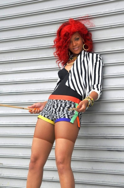 Rihanna sported a colorful outfit and fiery red hair, danced in Central Park