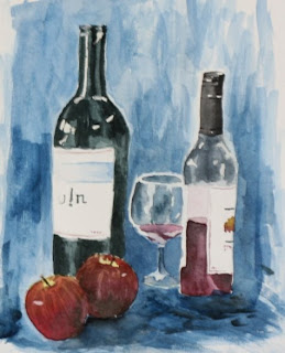 Still life with wine bottles by Sahu