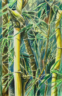 watercolor painting of bamboo bush