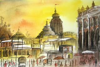 Watercolor painting of Puri