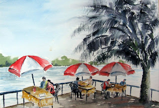on Mandovi - watercolor