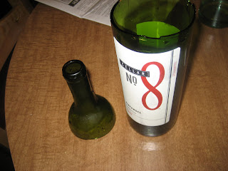 wine bottle that was cut with acetone and a string