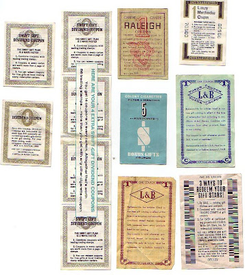 L&B larus brother company inc. (Yukon Coupon), Philip Morris (Sweet Gift Dividend), Raleigh, and Colony Cigarettes. front