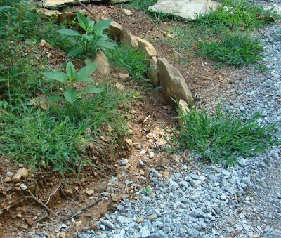 Homemade drainage ditches with rocks