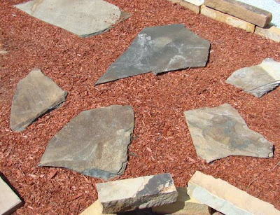 Laid out flagstone samples